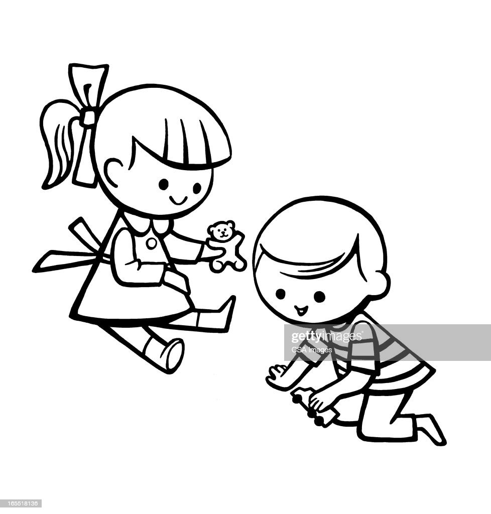 Two Children Playing : Stock Illustration