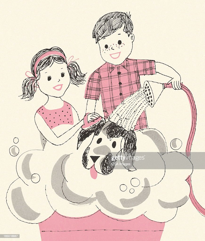 Two Children Washing a Dog : Stock Illustration