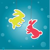 Two color Christmass Hare (rabbit). Vector illustration