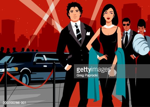 Two couples walking on red carpet, limousine in background : Stock Illustration