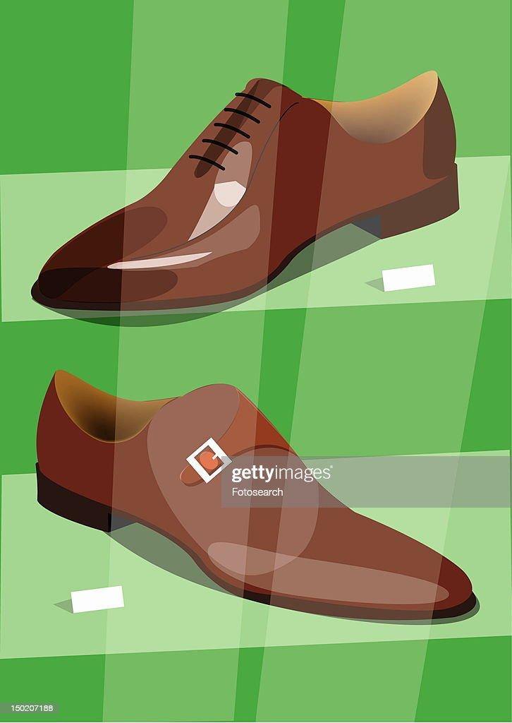 Two different new men's shoes in a shop window : Stock Illustration