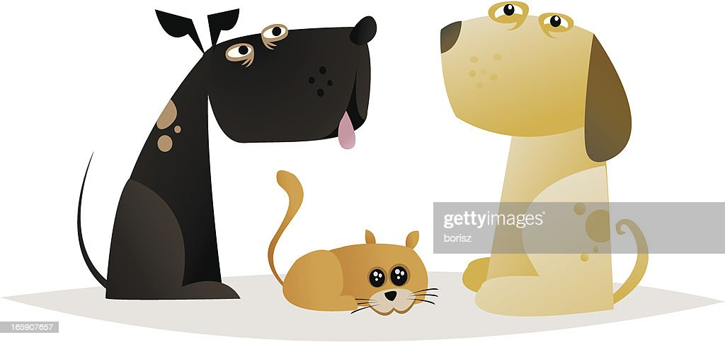 Two dogs and a cat : Vector Art