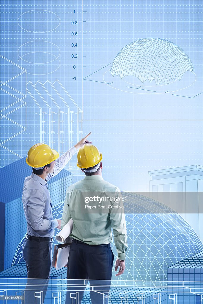 Two engineers looking at a virtual building plan : Stock Illustration