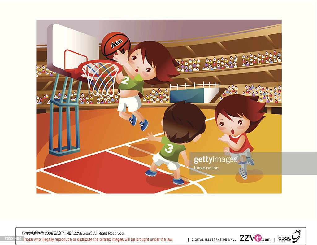 two girls and a boy playing basketball in the stadium vector art