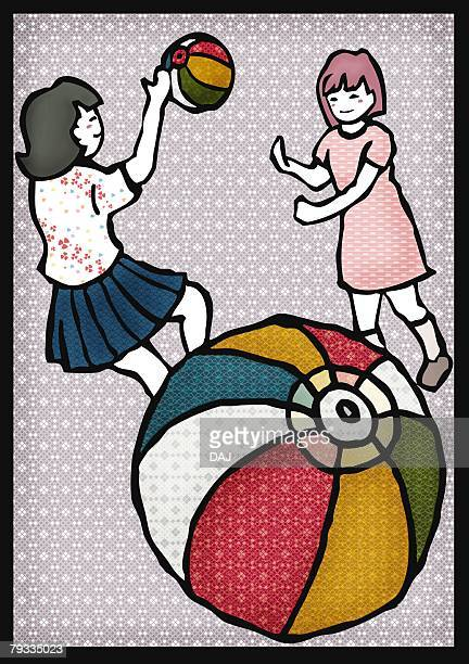 Two girls playing with paper balloons, front view, side view