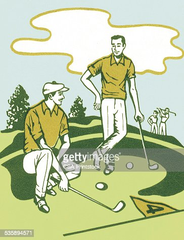 Two Golfers : Stock Illustration