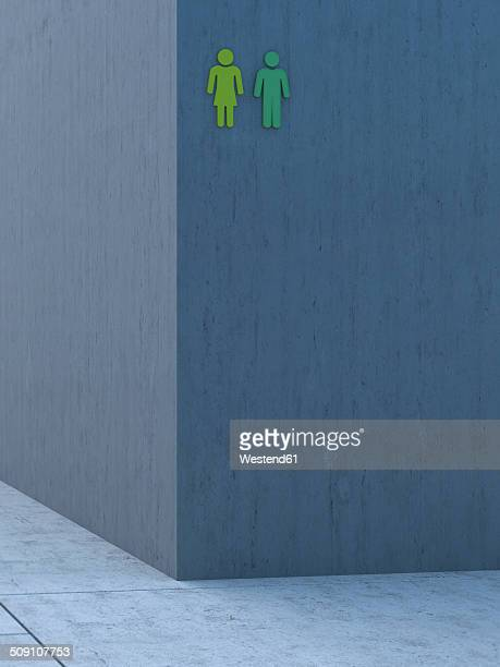 Two green icons on grey concrete wall, 3D Rendering