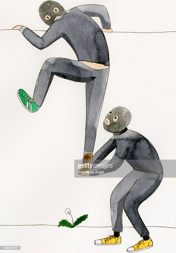 Two masked men climbing a wall : Stock Illustration