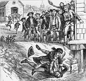 Two men fighting during Shay's rebellion in Western Massachusetts