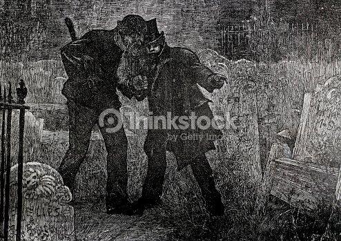 dois homens em cemitério escuro da noite linha arte de desenho