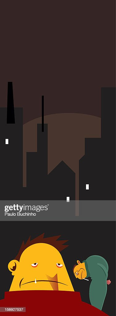 Two men lurking during night time : Stock Illustration