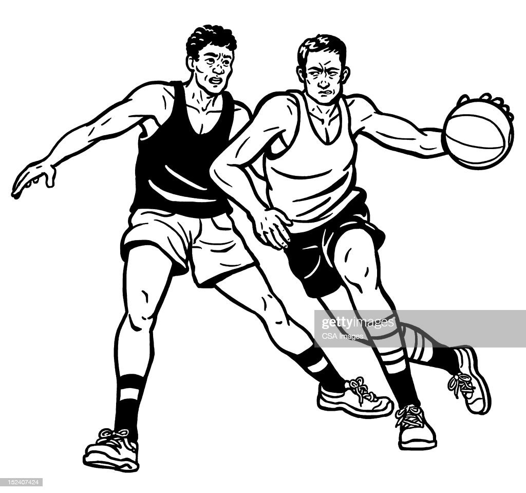 Two Men Playing Basketball : Stock Illustration