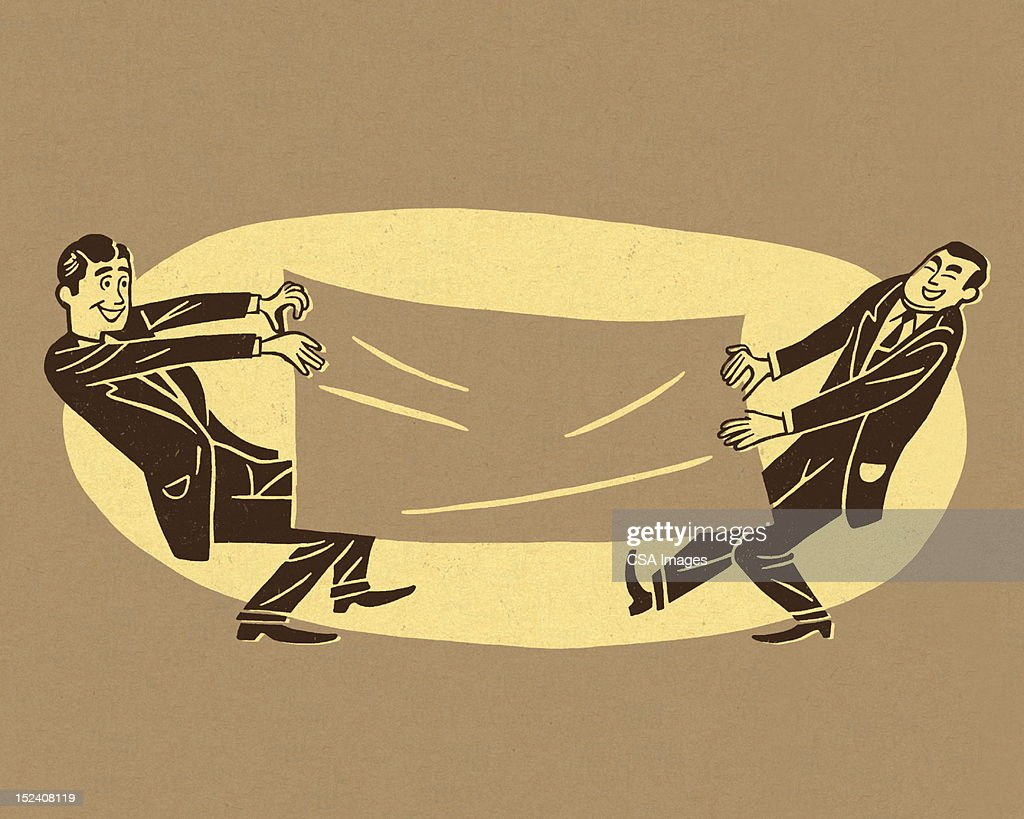 Two Men Pulling on Large Piece of Paper : Stock Illustration