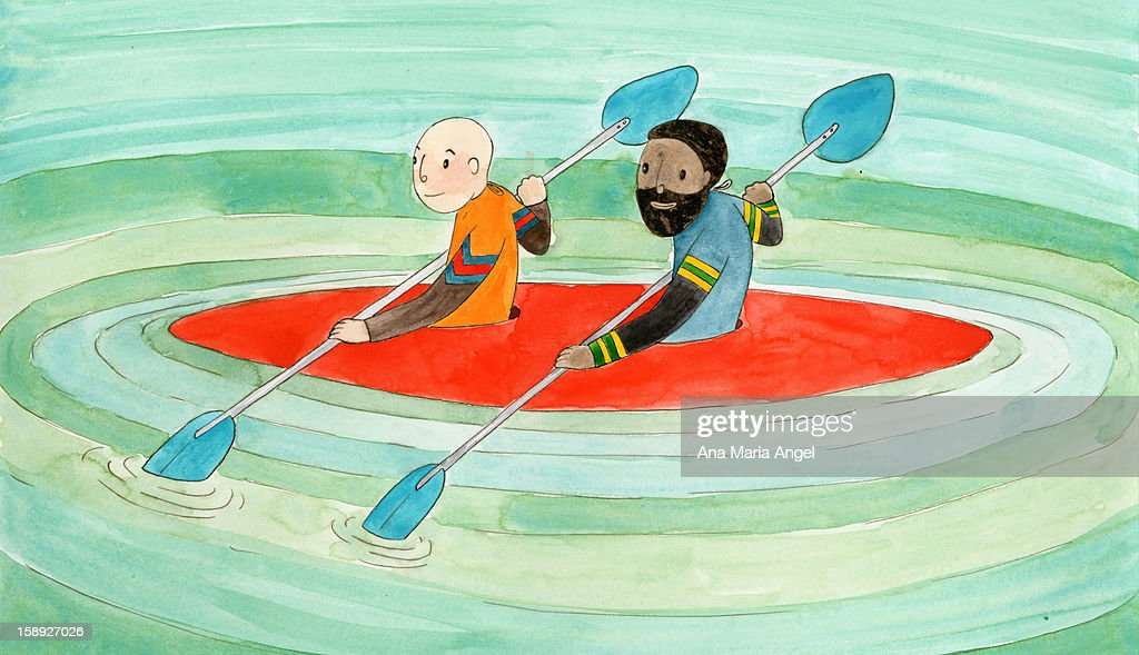 Two people in a kayak : Stock Illustration