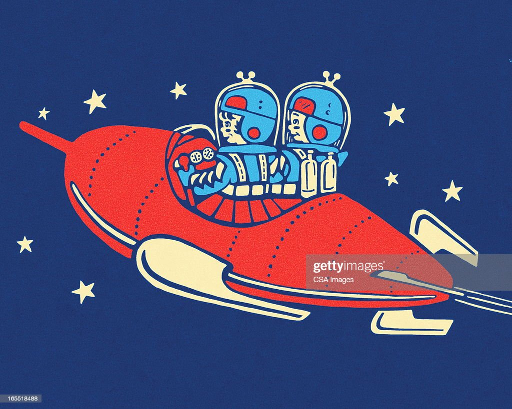 Two People in a Rocketship : Stock Illustration