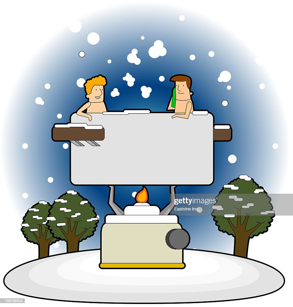Two people in the bath : Stock Illustration