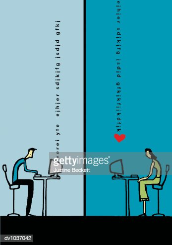 Two People Using Computers and Communicating Romantically By Email : Stock Illustration