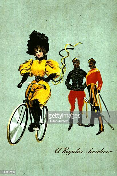 Two soldiers look on in admiration as a young woman bicycles past in the latest fashions