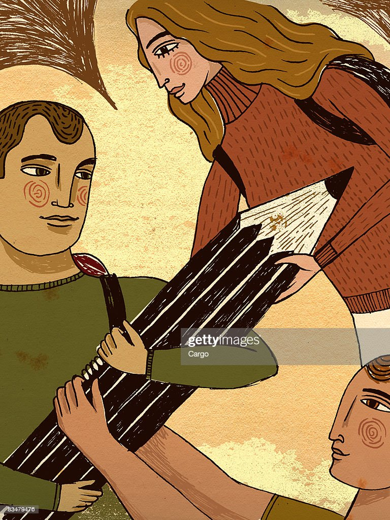 Two teenage boys and one girl grasping a large pencil : Stock Illustration