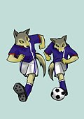 Two wolves playing soccer, front view, blue background