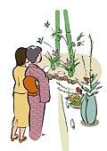 Two Women at the Flower Arrangement Exhibition, Illustrative Technique
