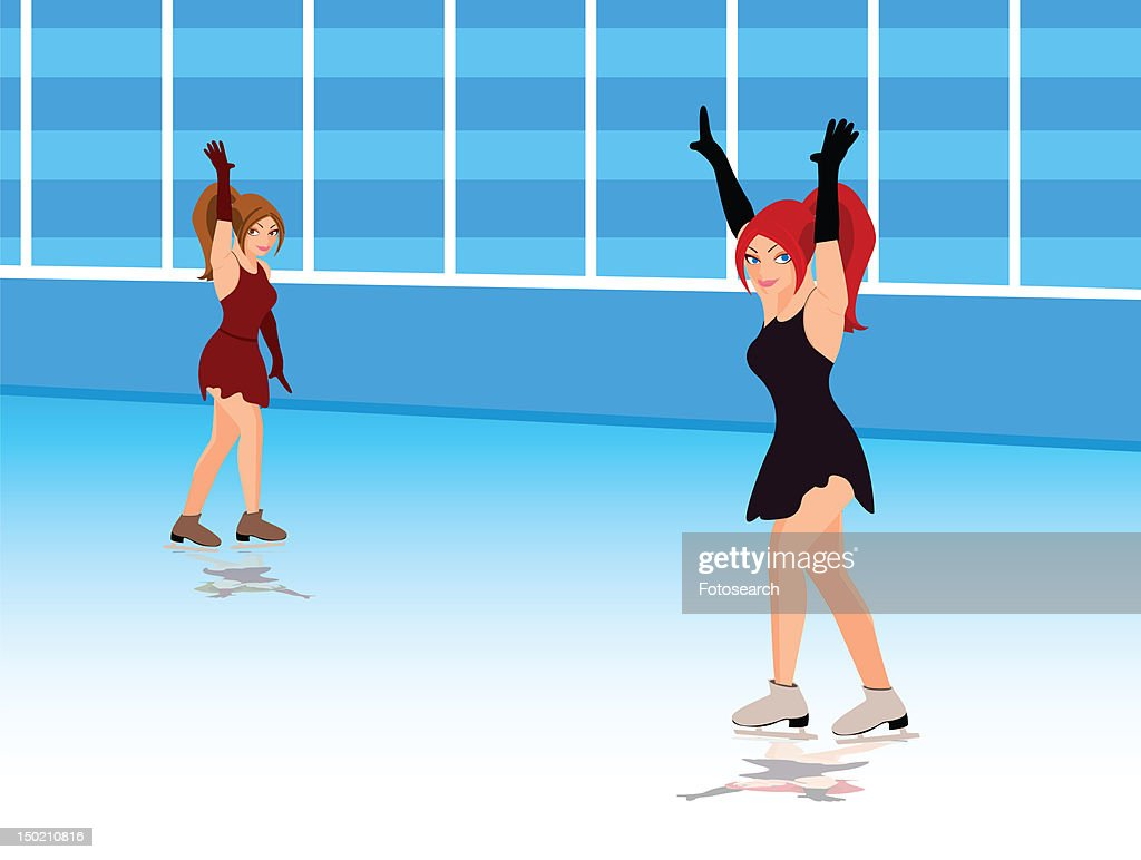 Two women ice skating : Stock Illustration