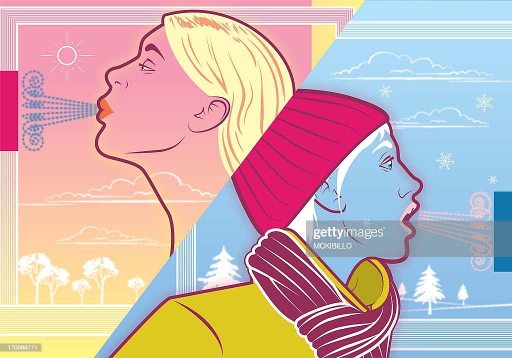 Two women  in different seasons : Stock Illustration