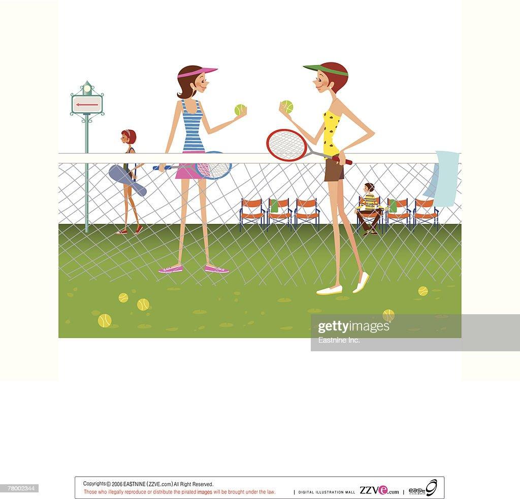 Two women standing in tennis court holding tennis balls and rackets : Vector Art