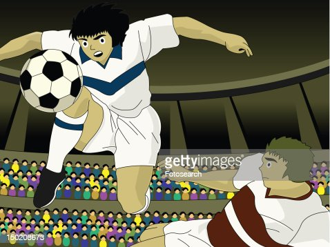Two young men competing in a soccer game : Stock Illustration
