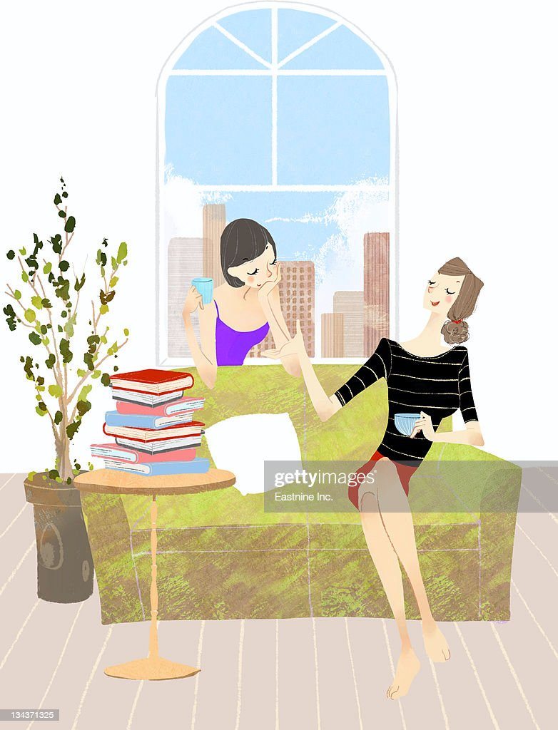 Two Young woman having coffee at home : Stock Illustration