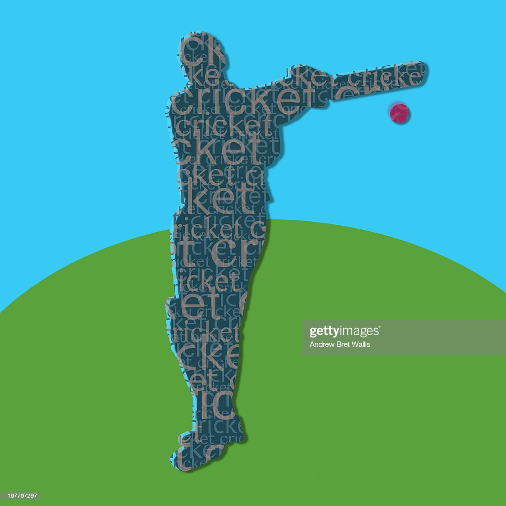 typeface silhouette of person playing cricket : Stock Illustration