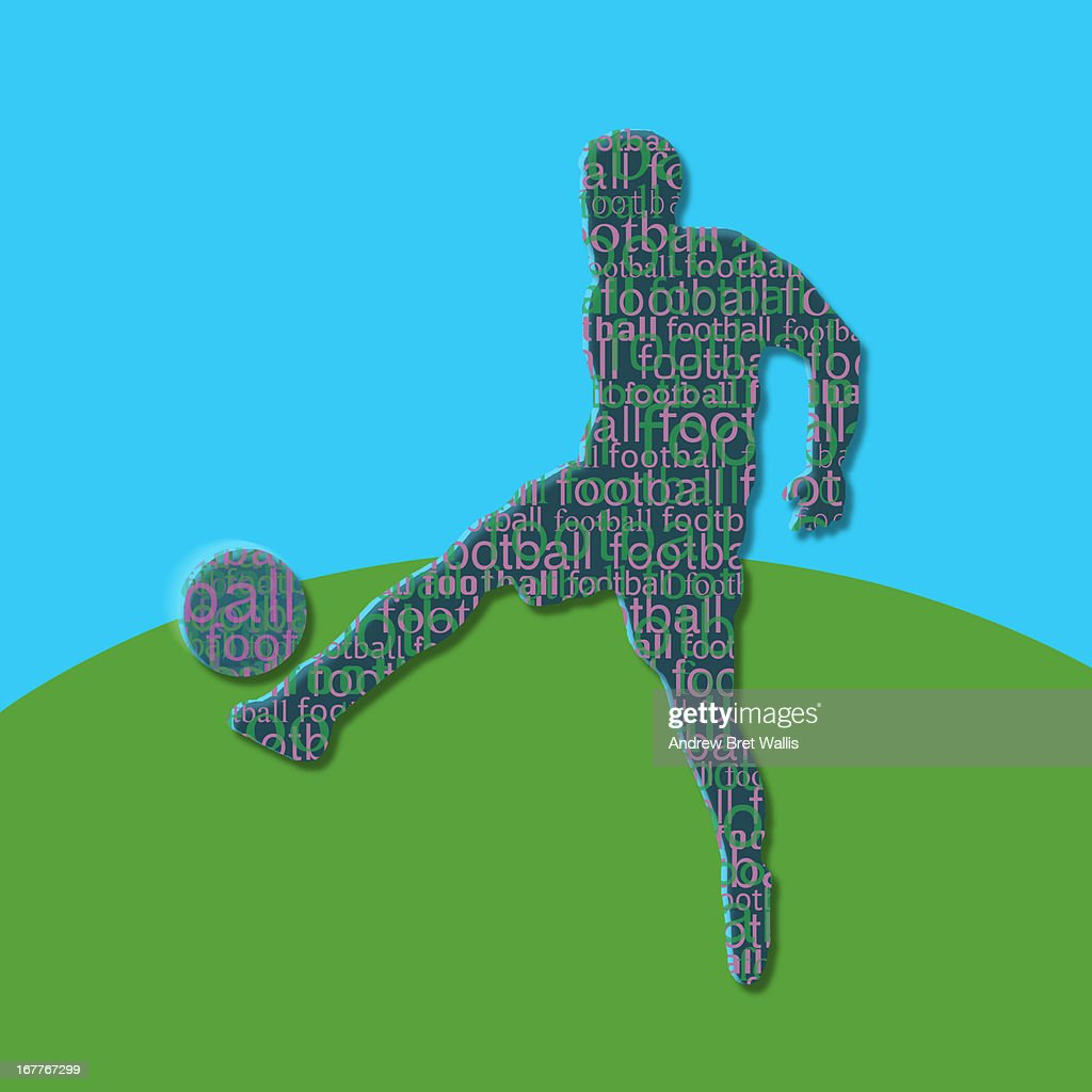 typeface silhouette of person playing football : Stock Illustration