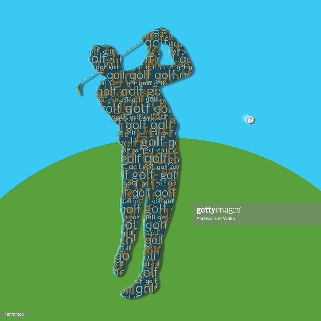 typeface silhouette of person playing golf : Stock Illustration