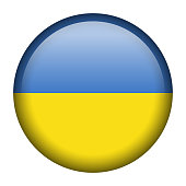 Vector flag button series of all sovereign countries - Ukraine