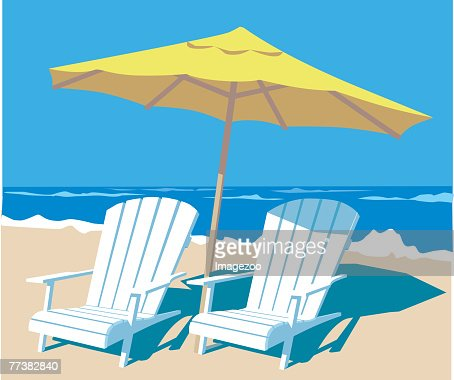 umbrella and chairs : Vector Art