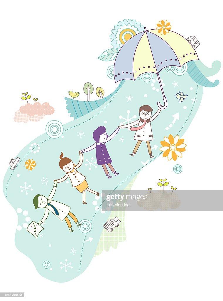 Umbrellas and people : Stock Illustration