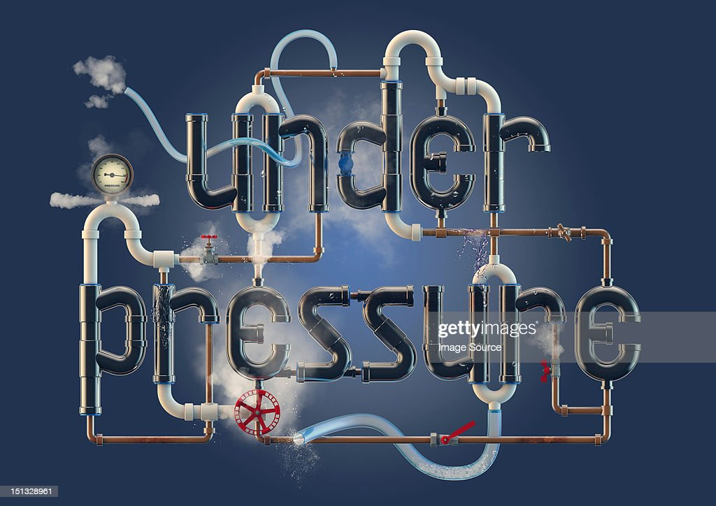 Under Pressure - word illustration formed from pipes : Stock Illustration