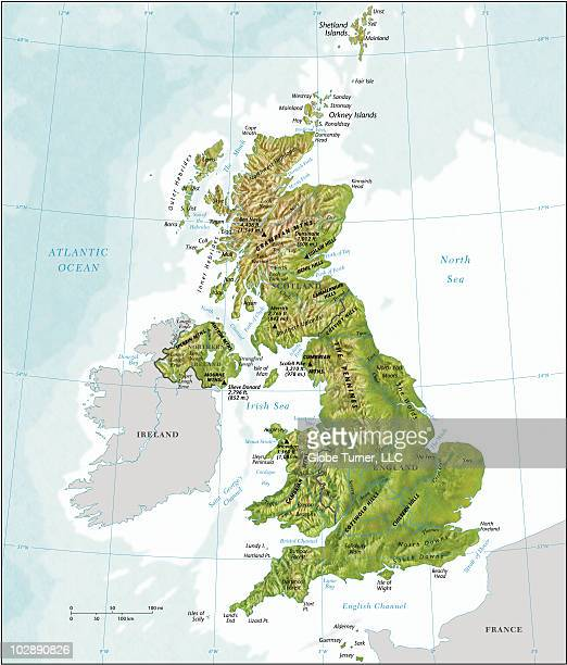 United Kingdom country map with relief