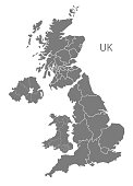 United Kingdom Map with countries in grey