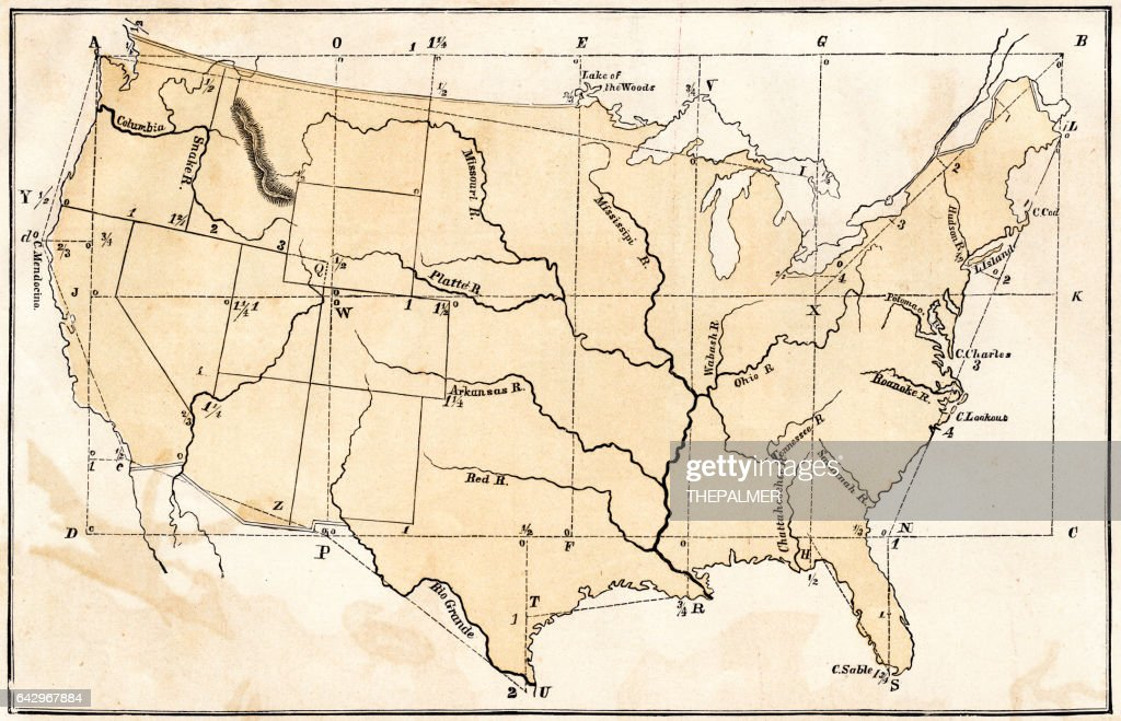United States Study Map Stock Illustration Getty Images - 1867 us map