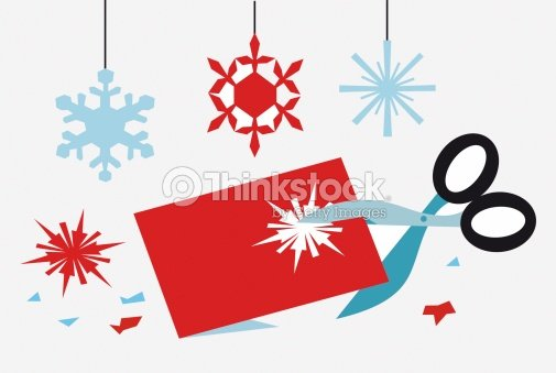 using scissors to cut out snowflake shapes for christmas decorations stock illustration - Cut Out Christmas Decorations