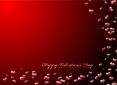 valentines day background in red with 3d hearts