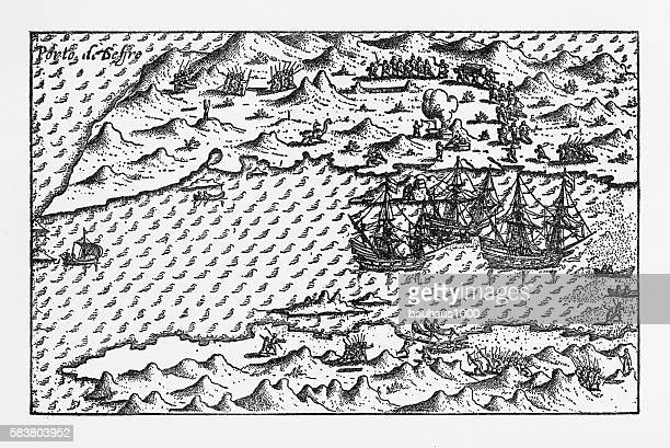 Van Noort at Porto Deseado Historical Map of 1598