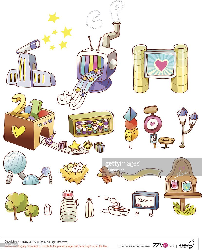 Variation of objects displayed against white background : Vector Art
