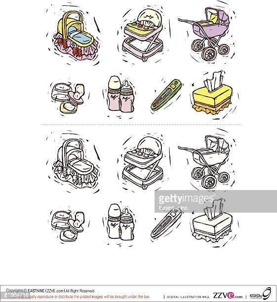 Variation of things used for babies displayed against white background