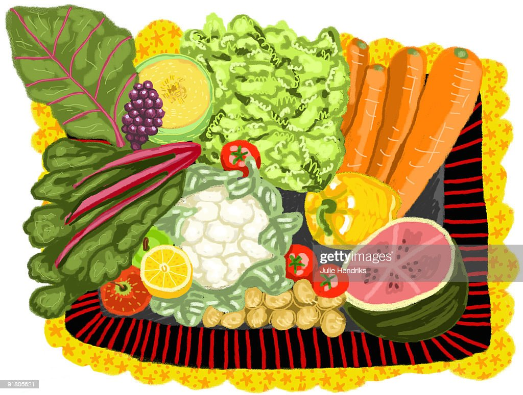 A variety of fruits and vegetables : Stock Illustration