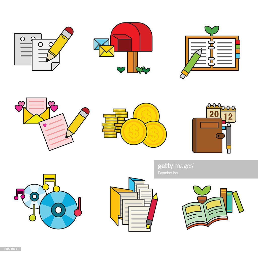 A variety of writing tools : Stock Illustration