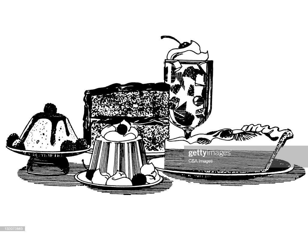 Various Desserts : Stock Illustration