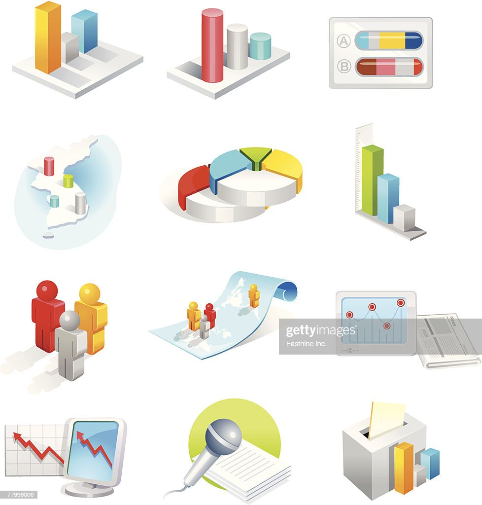 Various growth representing charts : Vector Art