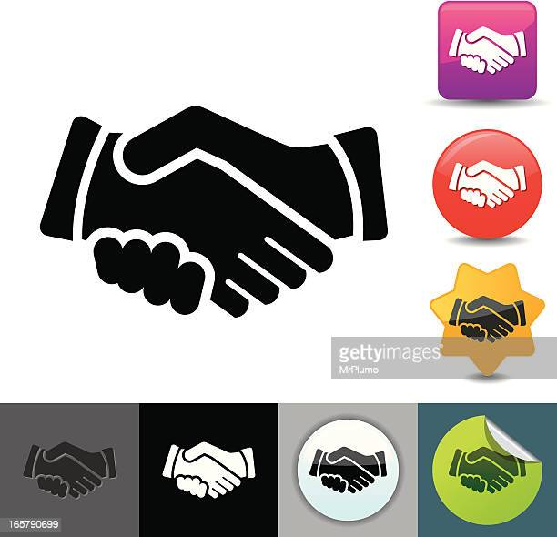 Various handshake icons, color and black and white
